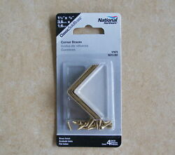 National SOLID Bright Brass Corner Braces 1-12