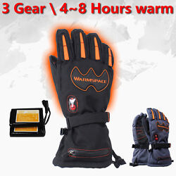 1Pair 5600mAh Adjust Temperature Battery Electric Heated Hands Ski Warmer Gloves