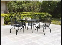 Wrought Iron Patio Dining Sets Table 4 Chairs Mesh Outdoors Porch Deck Pool New