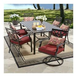 Patio Furniture Dining Set 7 Piece Outdoor Outside Porch Deck Table Chair Maroon