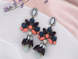 Costume Fashion Earrings Clip on Huge Drop Brown Blue Pink Baroque Vintage X4