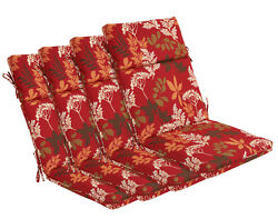 Bossima Outdoor Seat Cushions Patio High Back Dining Chair Red Floral Set of 4