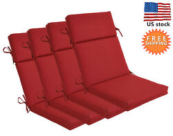 Bossima Outdoor Seat Pad Cushion Patio High Back Dining Chair Rust Red Set of 4