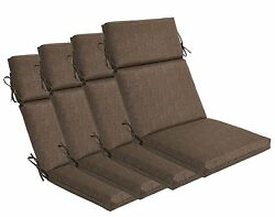 Bossima Outdoor Seat Pad Cushions Patio High Back Dining Chair Coffee Set of 4