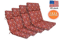 Bossima Outdoor Seat Pad Cushions Patio High Back Dining Chair Damask Set of 4