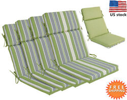 Bossima Outdoor Seat Pad Cushions Patio High Back Dining Chair Striped Set of 4