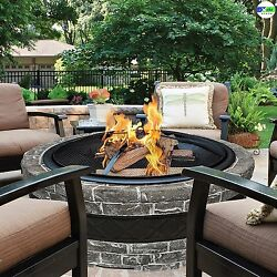 Outdoor Cast Stone Fire Pit Burning Backyard Patio Deck Fireplace Wood Heater