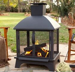 Outdoor Wood Burning Fireplace Pit Chimenea Log Poker Bronze Steel Bowl Fire Pan