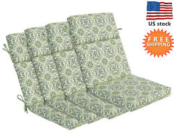 Bossima Outdoor Seat Pad Cushions Patio High Back Dining Chair Green Set of 4