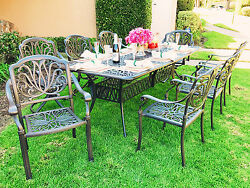 Cast Aluminum Patio Furniture Elisabeth 9pc Dining Set with 84
