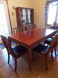 Koa Wood Dining Room Table 6 Chairs Hutch  Bookcase and Entertainment Center