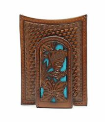 Nocona Western Mens Money Clip Weave Floral Overlay Turquoise Brown N5426527 $39.00