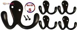 Heavy Duty Double Prong Coat and Hat Hook with Ball Tip 5 Pack (Screws included