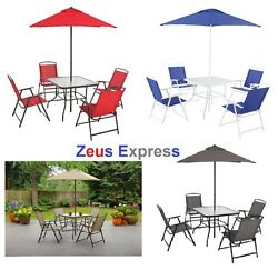 Cheap Modern Patio Furniture Dining Set for 4 Folding Chairs Umbrella Blue Red