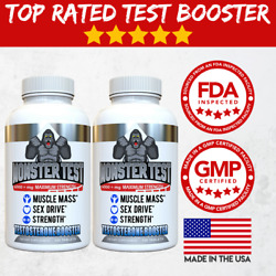 Testosterone Booster Monster Test for Men More Muscle Mass 6000+ MG - 2 Pack