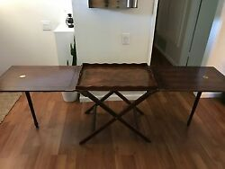 Baker Mahogany Party Butler Table Double Fold Out Top Tray Brass Accents