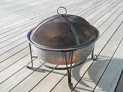 Outdoor Hammered Copper Wood burning Fire Pit With Screen Cover