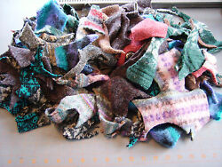 HUGE LOT CUT FELTED WOOL SWEATER SCRAP PIECES ~ FOR WOOL APPLIQUE PROJECTS ETC