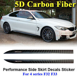 M Performance Side Skirt Stripe 5D Carbon Fiber Sticker for BMW 4 Series F32 F33