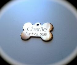 PET TAGS BONE 2.5cm ID STAINLESS STEEL 2 SIDE DIAMOND ENGRAVE DOG CAT NAME TAG $4.94