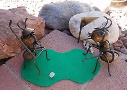 Set of 2 Rock Ants GOLFING  Made in Mexico  Outdoor Safe  Office or Garden Decor
