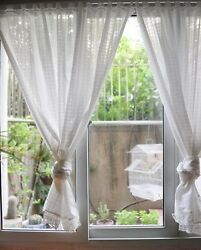 One Piece Elegant New Check Design Wide Lace White Sheer Curtain 120cm Drop