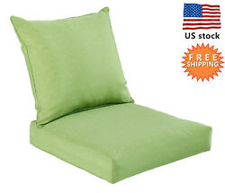 Bossima Outdoor Deep Seat Cushion Patio High Back Chair Pad Set Dining Green