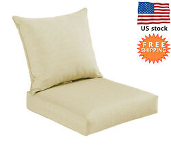 Bossima Outdoor Deep Seat Cushion Patio High Back Chair Pad Set Dining Cream