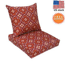 Bossima Outdoor Chair Cushion Patio Deep Seat High Back Pad Set Dining Red