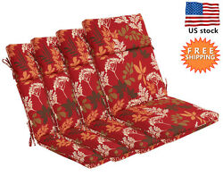 Bossima Outdoor Seat Cushions Patio High Back Dining Home Chair Floral Set of 4
