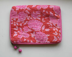 NWT Paper Source Valentine Felted Wool Floral iPad Tablet Cover Pink Red Floral