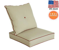 Bossima Outdoor Chair Cushions Patio Deep Seat High Back Pad Set Dining Khaki