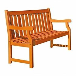 4-Foot Contoured Seat Slatted Back Wooden Outdoor Patio Garden Bench w Armrest