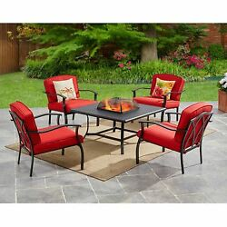 5-Piece Outdoor Patio Conversation Fire Pit Set Table and Cushioned Chairs Red