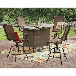 5-Piece Outdoor Patio U-Shape Bar Table Counter Height Swivel Chairs Set Brown