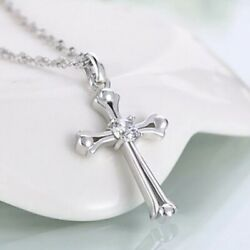 Women#x27;s 925 Sterling Silver Cross Crucifix Crystal Pendant Necklace 18quot; Chain $13.99
