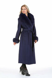 Womens Long Cashmere Coat Real Fox Fur Collar and Cuffs - Navy