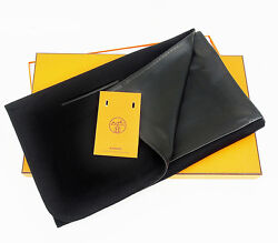 New HERMES Stole Leather Shawl Lamskin Cashmere Black  Size 186cm(73.2 Inch) (S)