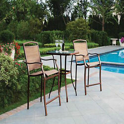 Bistro Set 3 Piece 2 Chairs 1 Table Bar High Outdoor Patio Deck Furniture Dining