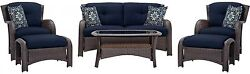6-Piece All-Weather Wicker Outdoor Furniture Patio Conversation Set w Cushions