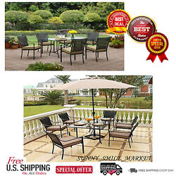 7 Piece Patio Garden Lawn Furniture Dining Set Outdoor Chairs Table Deck Yard