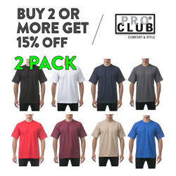 2 PACK PROCLUB PRO CLUB MENS PLAIN T SHIRT HEAVYWEIGHT SHORT SLEEVE COTTON TEE $24.90