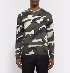 VALENTINO CAMOUFLAGE-INTARSIA CASHMERE-BLEND SWEATER