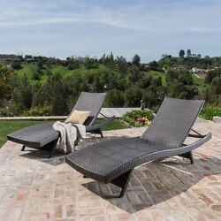 Set of 2 Outdoor Patio Lounge Chairs Wicker Pool Recliner Chaise Adjustable Back