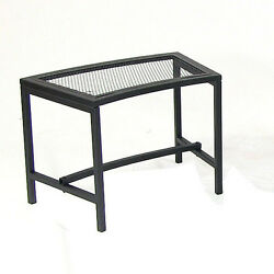 BLACK METAL MESH PATIO BACKYARD CURVED FIRE PIT BENCH OUTDOOR FURNITURE