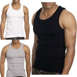 3 to 12 Packs Mens 100% Cotton Tank Top A-Shirt Wife Beater Undershirt Lot
