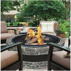 Outdoor Fireplace Kits Fire Pit Grill Stone Screen Wood Burning Heater Back Yard