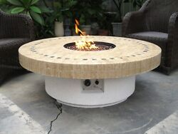New Backyard Outdoor Gas Propane Fire Pit w Marble Mosaic Top Patio Heater