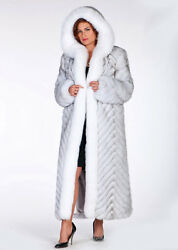 Plus Size Long Fur Coat with Hood - Natural Blue and White Fox - Chevron Design