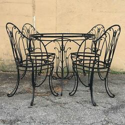 Early 20th C. Wrought Iron Furniture Fancy Patio Outdoor Garden Table